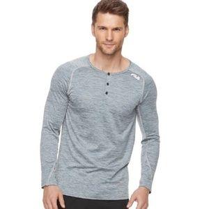 Fila Athletic Gray Henley Long Sleeve Shirt Sz XL